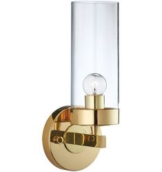 "Momo single sconce, lacquered brass w/ clear shade, 5.5""w 15.25""h 5.75""d, $290 base"