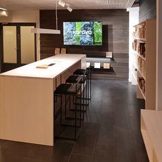 Showroom design for Karava Finland. Showroom Design, Wood Design, Wood Paneling, Finland, Conference Room, Table, Furniture, Home Decor, Wood Boards