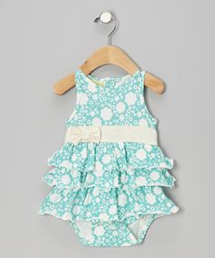 Take a look at this Teal Floral Tiered Ruffle Bow Organic Bodysuit - Infant on zulily today!