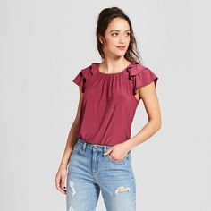 Find product information, ratings and reviews for Women's Ruffle Sleeve T-Shirt - Lux II - Red online on Target.com.