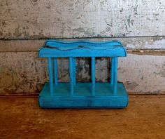 Napkin Holder Turquoise Distressed Wood Painted by turquoiserollerset on Etsy