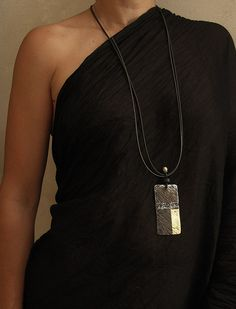 jewelry designer:  oxydized and polished metal necklace