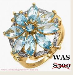 Brand New 10K Solid Yellow Gold, Diamond & Topaz Ring RRP $900 Size Q or 8.25. Start Price right now on eBay $99