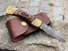 Damascus Steel Folding Pocket Knife - With Brass Wood Handle + Leather Sheath - Blade Made Of Authentic Damascus Steel - Handcraft Small Pocket Knives, Folding Pocket Knife, Folding Knives, Damascus Steel Pocket Knife, Damascus Knife, Steel Gifts, Burlap Bags, Brass Wood, Thick Leather