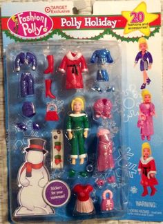 FASHION POLLY POCKET HOLIDAY CHRISTMAS DOLL 2002 TARGET EXCLUSIVE 20 Piece Set #DollswithClothingAccessories