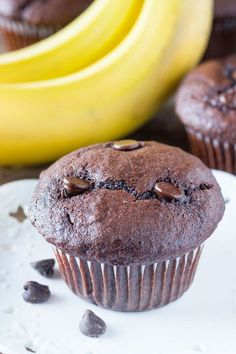 These moist Double Chocolate Banana Muffins have big banana bread flavor & a double dose of chocolate. An easy banana muffin recipe - perfect for breakfast