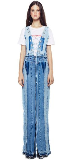Einer der eine Art Patchwork-Maxi-Kleid / ГОЛУБ Upcycled Denim