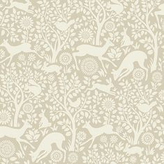 Product Description Anahi Forest Fauna Oat Wallpaper HAS01236 - Let your child frolic in an imaginary forest rich in plant and animal life with captivating flowers and deer, rabbits, and birds all aro