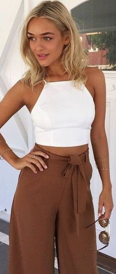 #summer #muraboutique #outfitideas | White Crop + Chocolate Pants