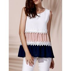 Fashionable Round Collar Lace Spliced Color Block Women's Tank Top