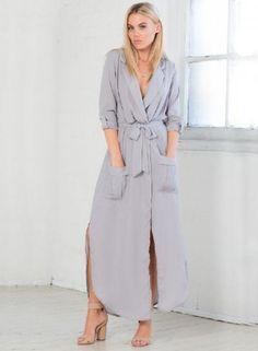 #Spring #AdoreWe #Oasap - #oasap Loose Long Sleeve Slit Day Dress - AdoreWe.com