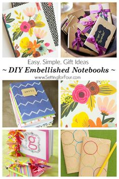 DIY notebook ideas - easy, simple gifts to make! Embellish plain boring notebooks and create beautiful, one of a kind planners, journals and notebooks. Diy Notebook, Plain Notebook, Notebook Covers, Homemade Gifts, Diy Gifts, Food Gifts, Simple Gifts, Great Gifts, Craft Tutorials