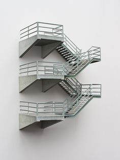 """archatlas: """" Contrived Structures Nick Sellek This series of photographs are of detailed models, embracing the contrived structures that surround us in our overdeveloped urban environments. Fire Escape, Arch Model, Conceptual Art, Little Houses, Stairways, Interior Architecture, Inspiration, Angles Images, General Goods"""