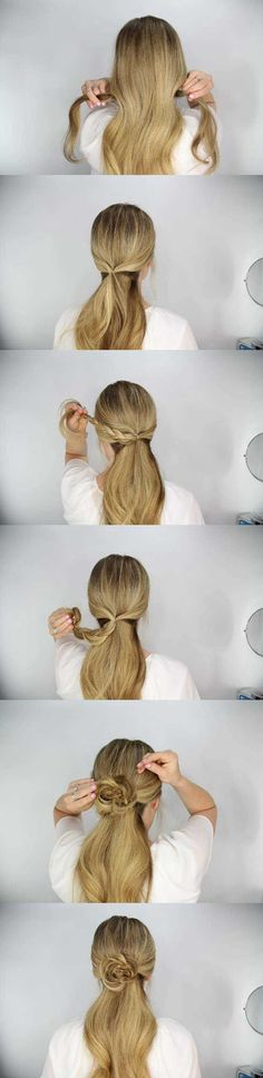 Amazing Half Up-Half Down Hairstyles For Long Hair - The Rosette Embellished Ponytail Tutorial -