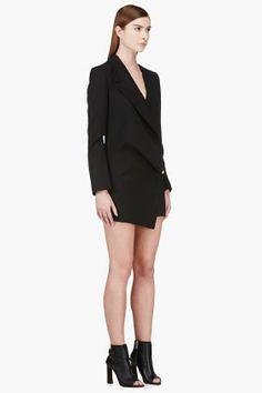 VERSUS Black asymmetric-drape JW Anderson edition dress