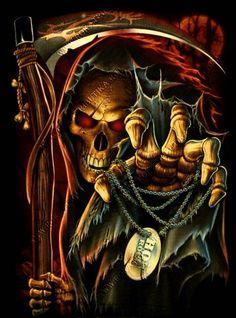 Grim Reaper with Roses wallpaper Grim Reaper Art, Grim Reaper Tattoo, Don't Fear The Reaper, Arte Horror, Horror Art, Dark Fantasy Art, Dark Art, Totenkopf Tattoos, Skull Pictures
