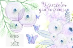 Set delicate flowers & insects by Spasibenko Art on Creative Market