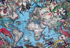 Kristjana S Williams  Falin Viltur Blar (Blue World map)