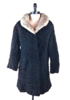 Vintage Black Persian Lamb Coat Size M Authentic Gray Mink Collar Lined  #Unknown #BasicCoat