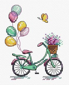 Modern Cross Stitch Embroidery Kit Cute Bicycle On a Walk Russian Manufacture Inspirational Embroidery Gift Idea - Kreuzstich Cross Stitch Bookmarks, Cross Stitch Baby, Modern Cross Stitch, Counted Cross Stitch Patterns, Cross Stitch Embroidery, Hardanger Embroidery, Broderie Primitive, Primitive Embroidery, Hand Embroidery Patterns
