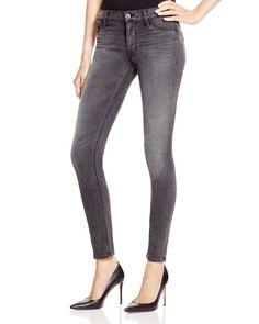 Hudson Nico Mid Rise Super Skinny Jeans in Black Thistle