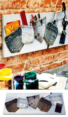 Recycling old jeans. for my craft room Diy Home Crafts, Crafts To Sell, Sewing Crafts, Kids Crafts, Sewing Projects, Jean Crafts, Denim Crafts, Creation Deco, Creation Couture
