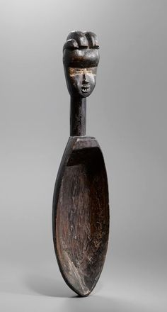 Africa   Ceremonial spoon from the Dan people of Ivory Coast   Wood and metal   Early 20th century