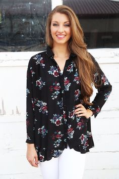 The 'Ashley' Floral Tunic [Black] - The Rage - 2