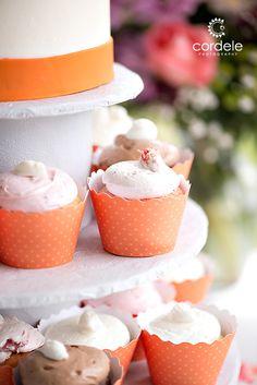 Colorful cupcakes at Seacoast Science Center ocean-front wedding venue in Rye, NH Cupcake Wedding, Wedding Cakes With Cupcakes, Orange Wedding Themes, Wedding Reception, Wedding Venues, Wedding Cake Photos, Rye, Unique Weddings, Ocean