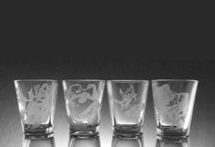 Harry Potter House Logo Shot Glass Set of 4 by PuppyBaoCreations