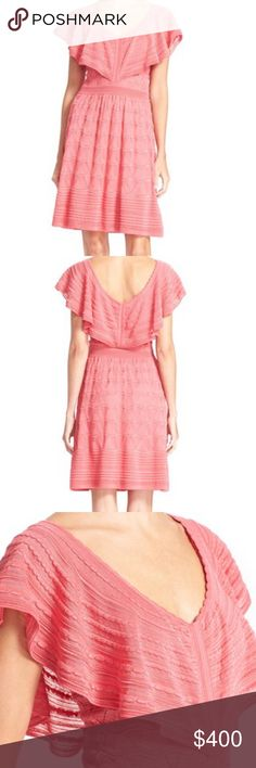 """Missoni Ruffle Pointelle With its fluttery ruffled neckline, candy-pink hue and easy A-line silhouette, this Italian-knit dress exudes fresh femininity. Mixed pointelle stitching, a signature of the Missoni house, adds rich textural dimension. 36"""" length (size 44). Slip-on style. V-neck. Flutter sleeves. Lined. 54% cotton, 46% viscose. Dry clean. By M Missoni; made in Romania of Italian materials.THIS DRESS IS A SIZE 40 M by Missoni Dresses"""