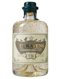 Beautiful Six Ravens Gin Gold with 24 carat Gold limited edition PD (Gin Bottle Design) Tequila, Vodka, Beverage Packaging, Bottle Packaging, Food Packaging, Alcohol Bottles, Liquor Bottles, Whisky, Gin Brands