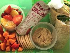 A good lunch box: A balanced variety of nourishing snacks (such yoghurt, wholegrain crack