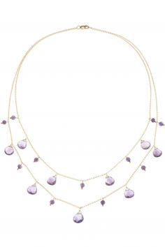 14k yellow gold necklace with various amethysts I designed by iris y. for NEW ONE I NEWONE-SHOP.COM