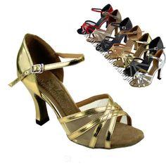 "Women's Salsa Ballroom Tango Satin Leather Dance Shoes 2 5"" 3"" Very Fine 6027 | eBay"
