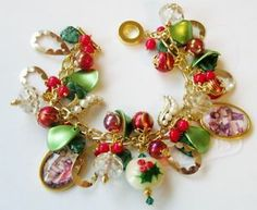 Winter Holiday Christmas Holly Ivy Charm Bracelet Handcrafted OOAK | eBay