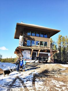 The Lookout – a new custom home in West Glacier Mountain Cabin Homes, Log Homes, West Glacier, Lookout Tower, Steampunk House, Tower Building, Tower House, Building Companies, Abandoned Houses
