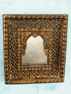 Antique Jali Indian Wooden Mirror