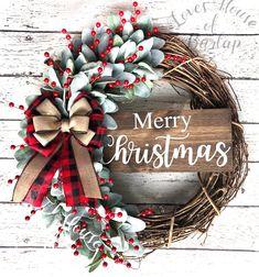 Christmas Wreaths For Front Door, Holiday Wreaths, Homemade Christmas Wreaths, Homemade Wreaths, Door Wreaths, Plaid Christmas, Merry Christmas, Buffalo Check Christmas Decor, White Christmas