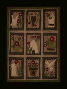 wool applique wall hangings | Garden Sampler - Wool Applique Wall Hanging
