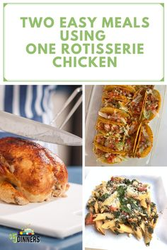 Need new recipes for rotisserie chicken? We have TWO easy weeknight dinner recipes made from ONE rotisserie chicken. Head to my blog to learn how to make oven chicken tacos and Tuscan chicken and pasta! #chickenrecipe #dinnerrecipe #tacos #pasta Tuscan Chicken Pasta, Oven Chicken, Chicken Tacos, Lunch Recipes, Mexican Food Recipes, Dinner Recipes, Dinner Ideas, Easy Weeknight Dinners, Easy Meals