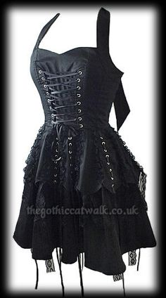 Gothic Punk Black Mini Corset Dress
