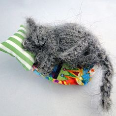 Grey Cat Nap - Fast Asleep - Knitted Ornament, Paradis Terrestre - Luxury British Made Accessories & Homeware