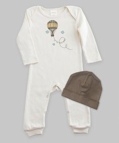 Look at this #zulilyfind! Truffles Kids Ivory & Brown 'Up, Up and Away Playsuit' & Beanie by Truffles Kids #zulilyfinds