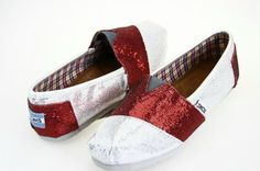Cheap Toms Shoes Glitter Women in Red and White $19.99