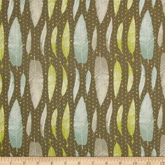 Lonni Rossi's Leaves Brown/Multi from @fabricdotcom  Designed by Lonni Rossi for Andover Fabrics, this cotton print includes colors of brown. blue, lime and grey on a brown background with gold metallic accents throughout. Use for quilting, apparel and home decor accents.