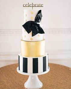Black And Gold Cake, White And Gold Wedding Cake, Black Wedding Cakes, Wedding Black, Wedding Gold, Wedding Bells, Kate Spade Cake, Bolo Fack, Gold Birthday Cake