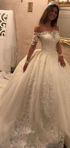 Wedding Styles Off Shoulder Long Sleeves Lace Chapel Tail Scoop A line Wedding Dresses Online, Perfect Wedding Dress, Cheap Wedding Dress, Wedding Dress Styles, Princess Wedding Dresses, Bridal Dresses, Wedding Gowns, Gold Wedding, Elegant Wedding, Party Dresses
