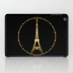 Eiffel Tower gold sparkles peace symbol iPad Mini Case #PLdesign #PrayforParis #GoldSparkles #SparklesGift