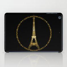 Eiffel Tower gold sparkles peace symbol iPad Mini Case #PLdesign #PrayforParis #GoldSparkles #SparklesGift